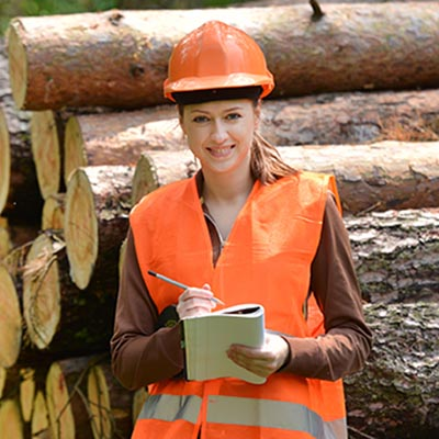 A students kneels in front of cut logs