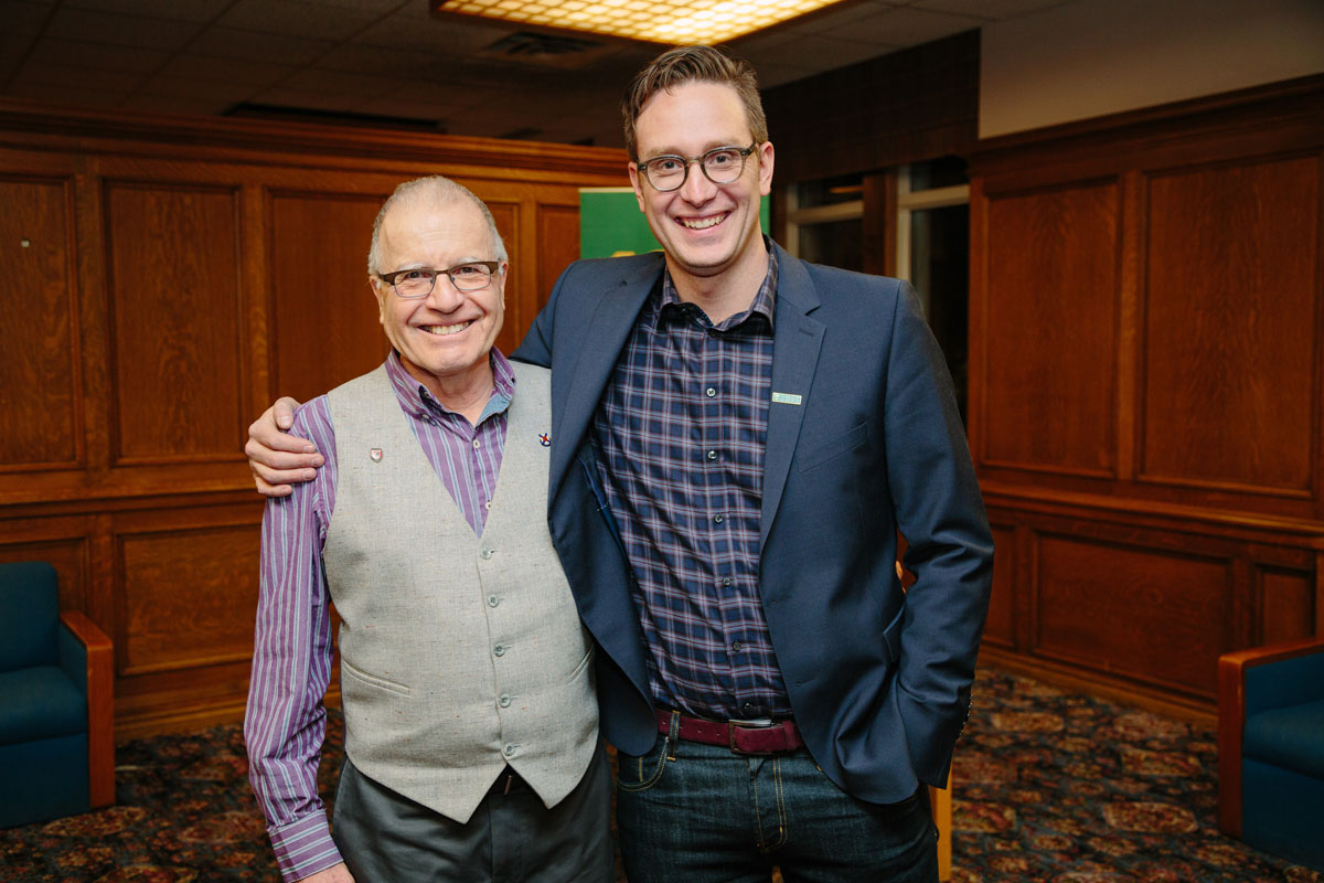Winterfest speaker Dan Riskin, '97 BSc, took the opportunity to thank Professor Emeritus Reuben Kaufman, who sparked within Riskin a love of science.