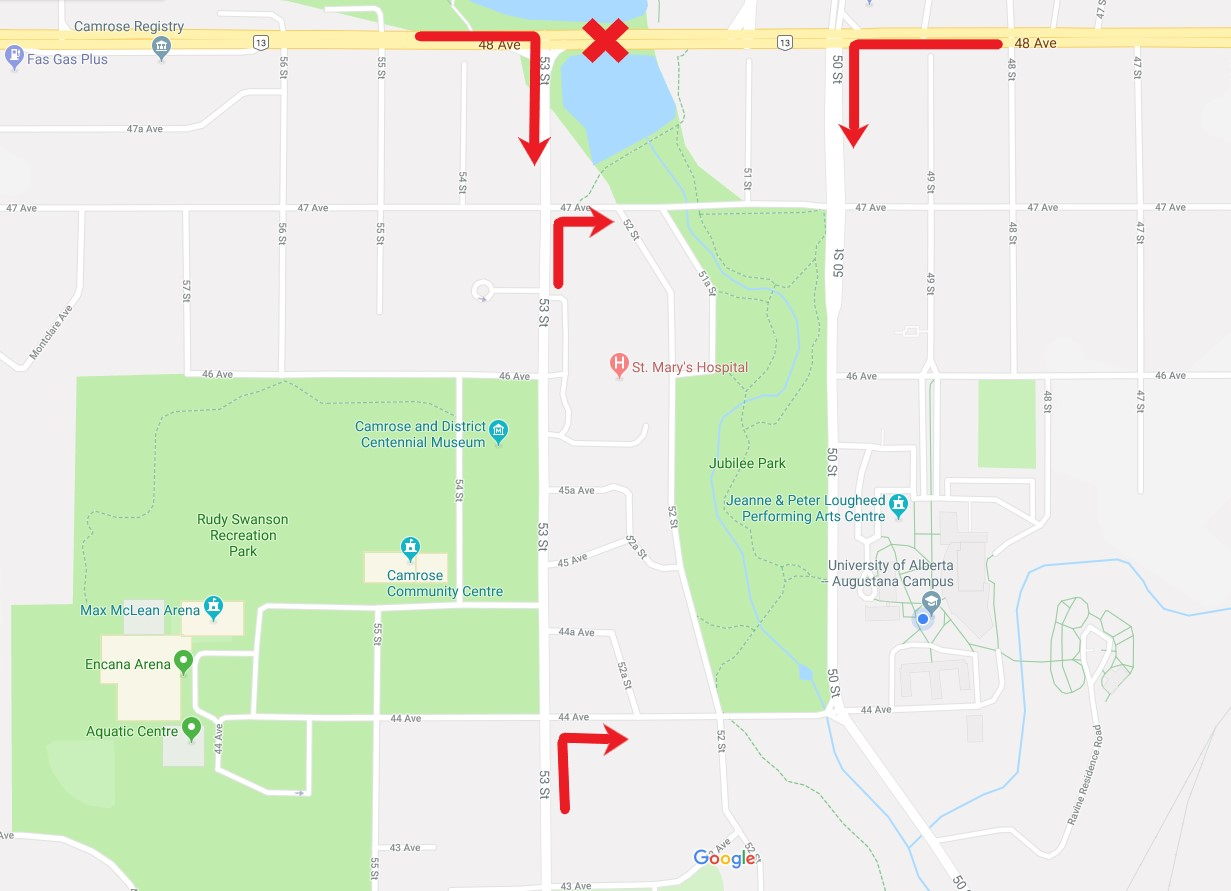 A map showing alternate routes to campus due to the 48 avenue closure are shown.