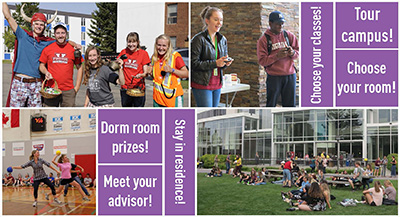 A mosaic of photos of activities from Welcome Weekend