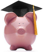 A picture of a piggy bank with a graduation cap