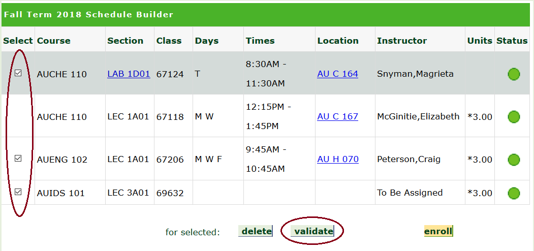 A screenshot of the Bear Tracks Schedule Builder showing how to validate the schedule