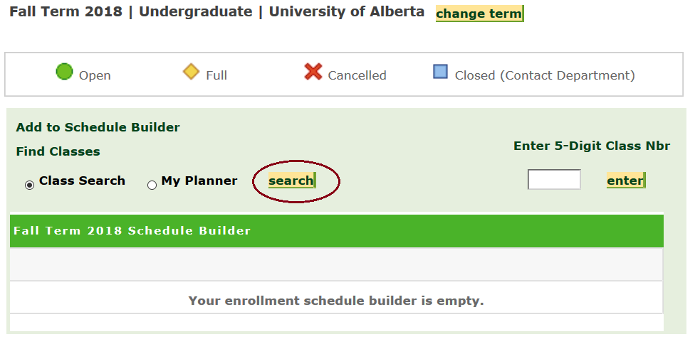 A screenshot of Bear Tracks showing where the Schedule Builder search button is