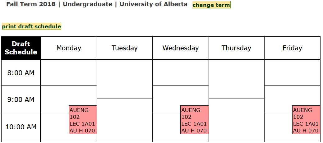 A screenshot of Bear Tracks showing a draft schedule