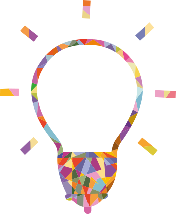 An line-drawn illuminated lightbulb crafted out of small pieces of colour.