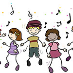 Drawing of children dancing with music notes