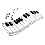 A graphic of a wavy keyboard with musical notes coming from it