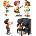 Cartoon graphic of children playing various instruments