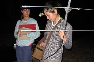 A photo of two students at night working with equipment in Costa Rica