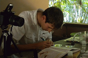 A photo of a student doing lab work in Costa Rica