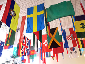 A photo of the flags that hang from the roof of the Faith and Life Lounge, representing our international students.