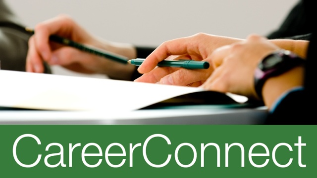 CareerConnect logo and hands working with pamphlet.