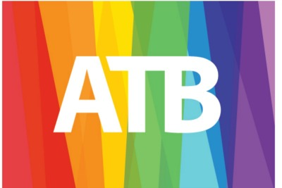 ATB logo on rainbow background