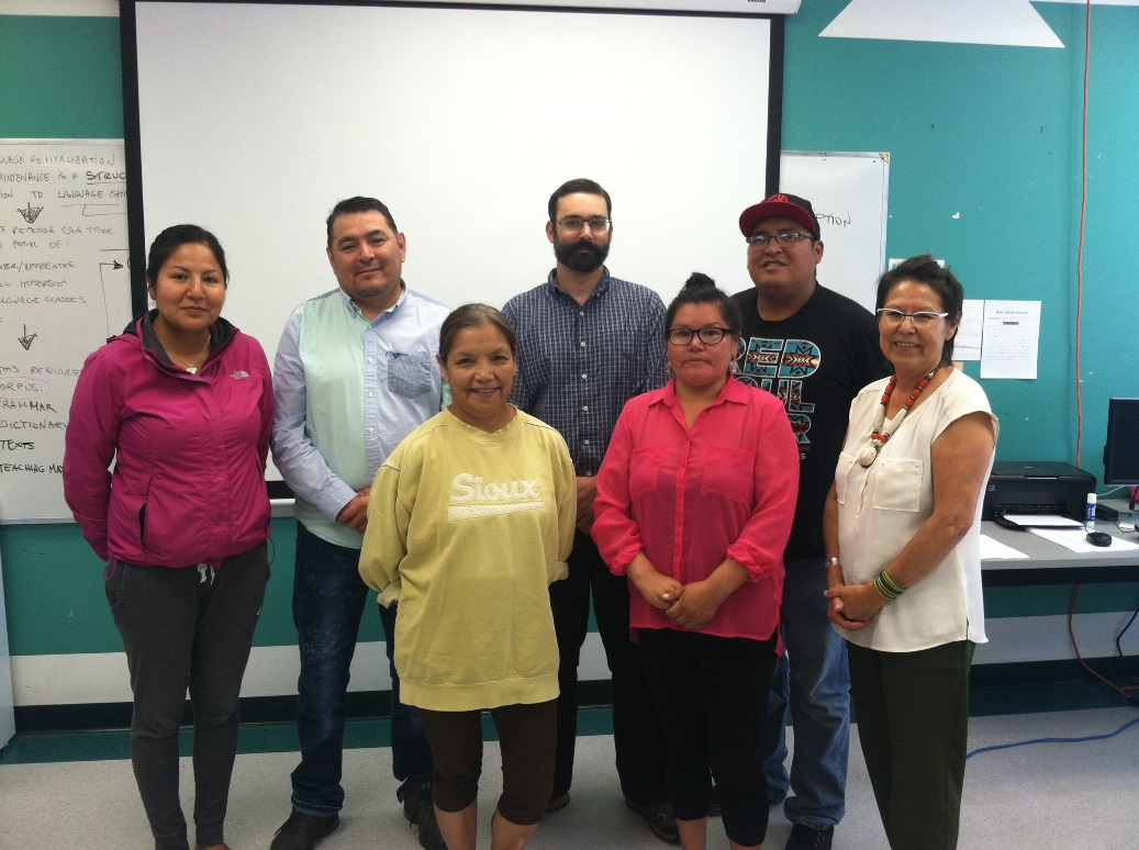 CLC students in Alexis Nakota Sioux Nation, AB. Back row, (left to right): Dorian Alexis, Eugene Alexis, Conor Snoek (CILLDI Instructor), Frederick Jonah Letendre; Front row: Sherry Letendre, Robyn Roan, Loretta Mustas Duncan