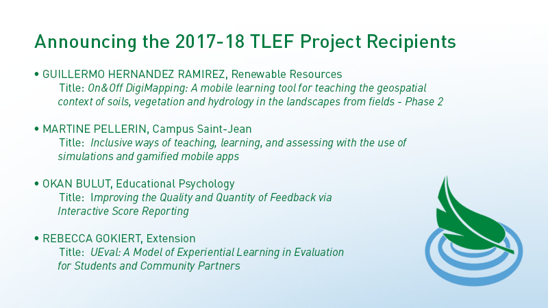 Announcing the 2017-18 TLEF Project Recipients