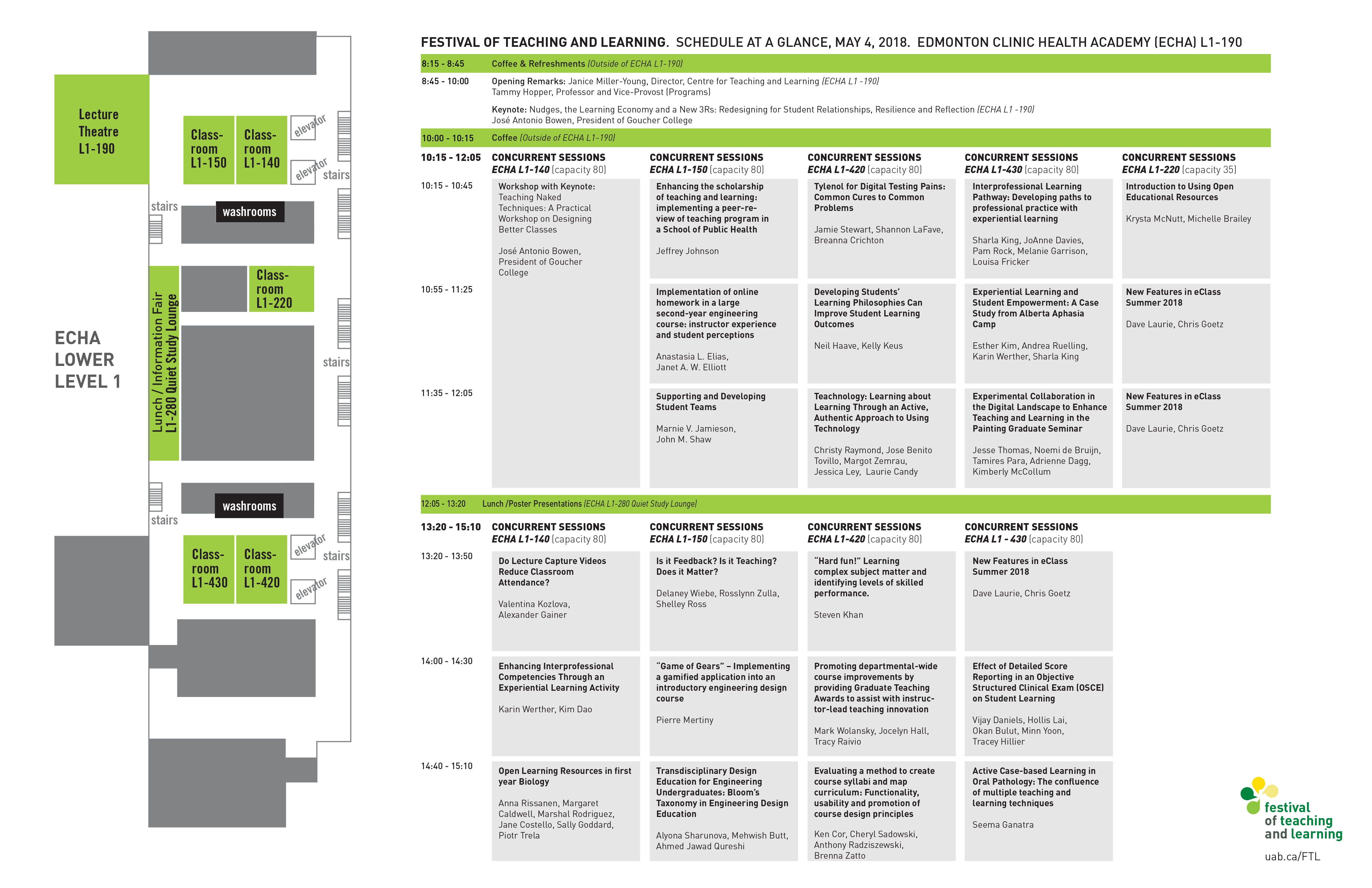 Festival of Teaching and Learning 2018 schedule