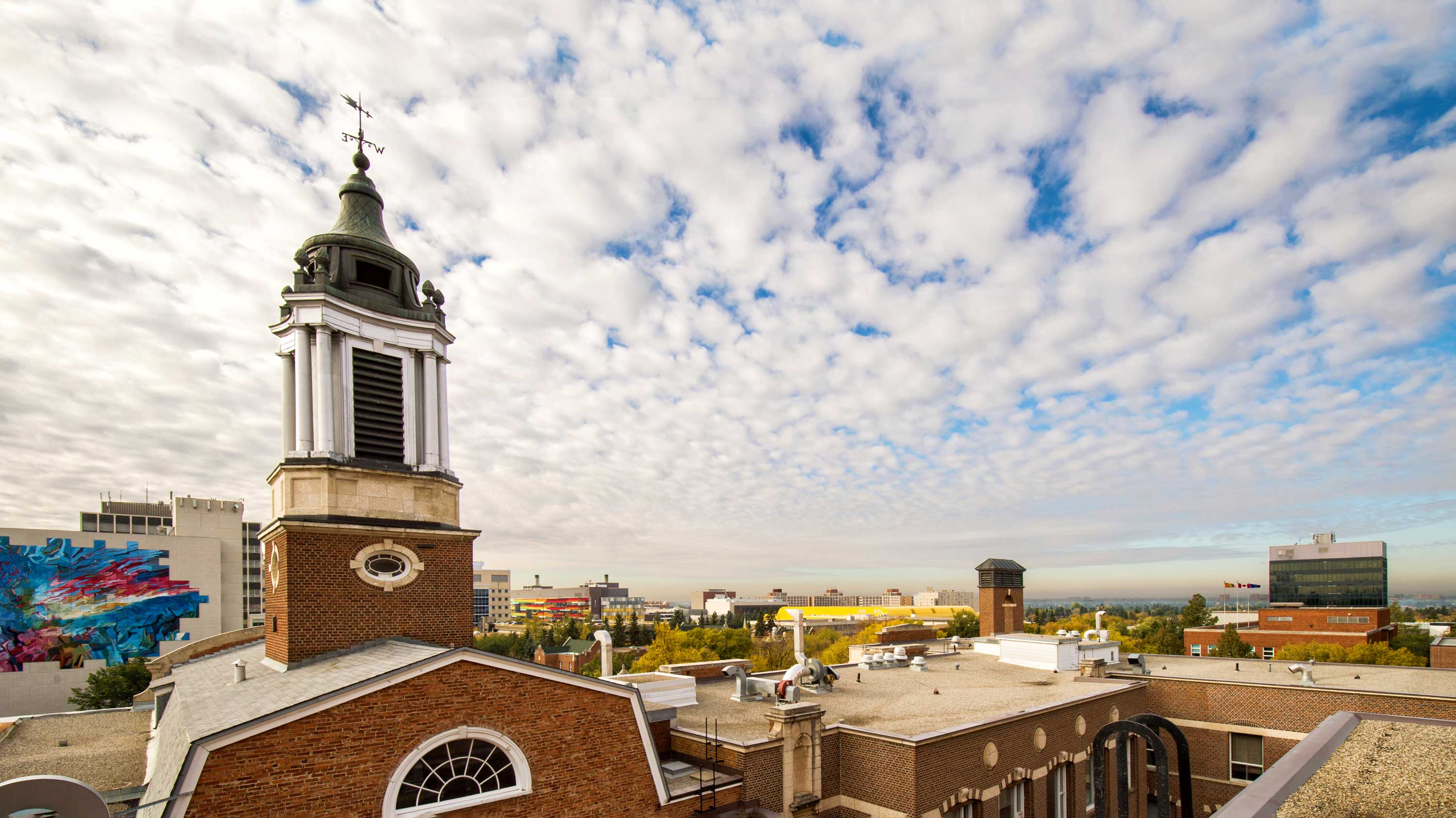 A southward view of campus from the Dentistry/Pharmacy Building roof