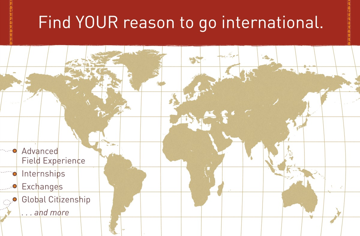 Find your reason to go international | advanced field experience, internships, exchanges, global citizenship, and more | background map