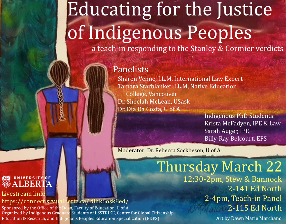 Promotional image for panel discussion education for the justice of indigenous peoples
