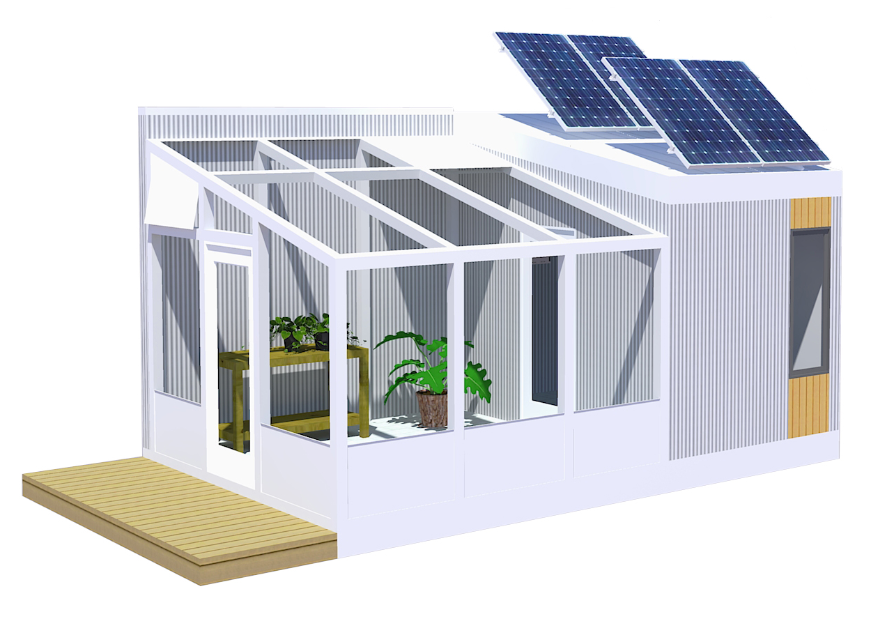Illustration of greenhouse with solar panels