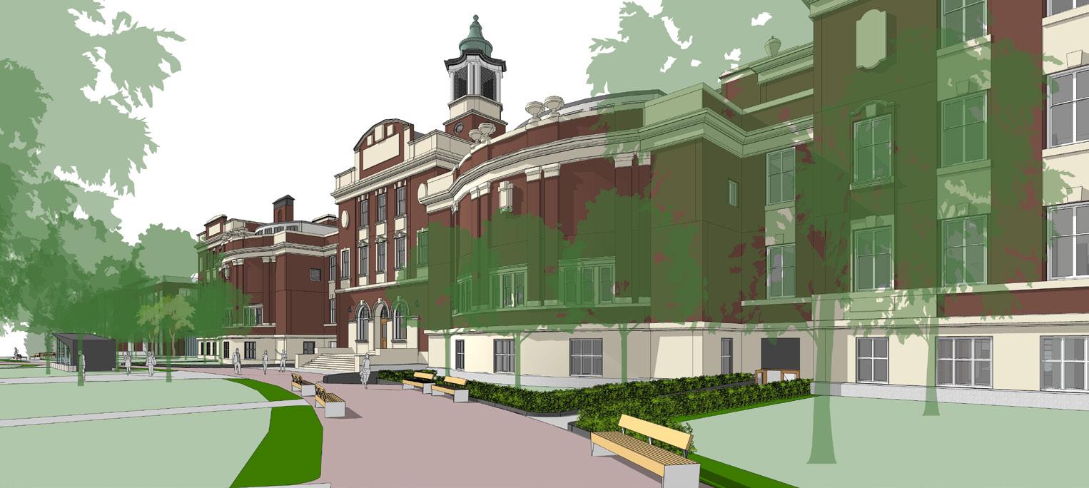 First slide, rendering of new Dentistry Pharmacy Centre building