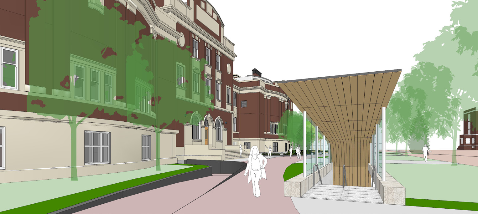 Second slide, rendering of new Dentistry Pharmacy Centre building