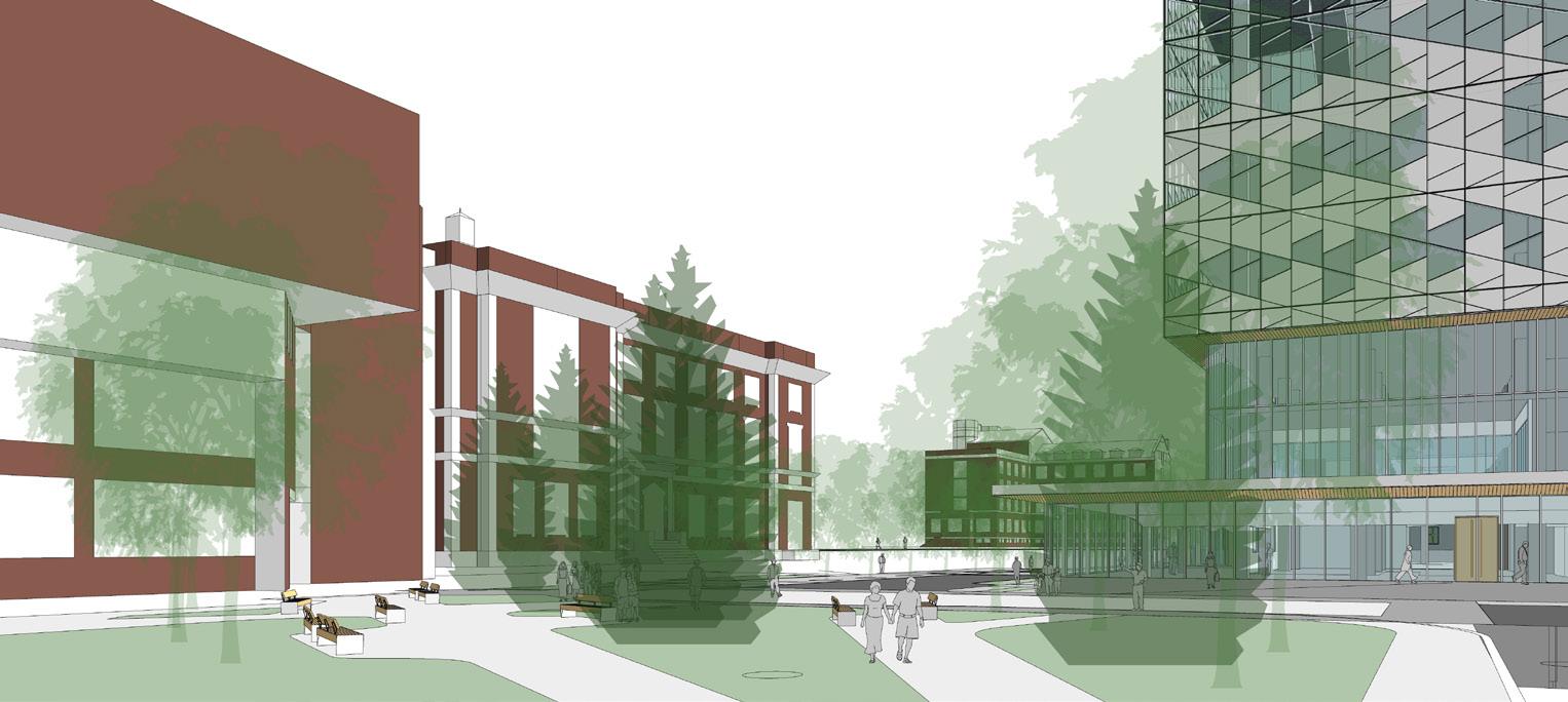 Third slide, rendering of new Dentistry Pharmacy Centre building
