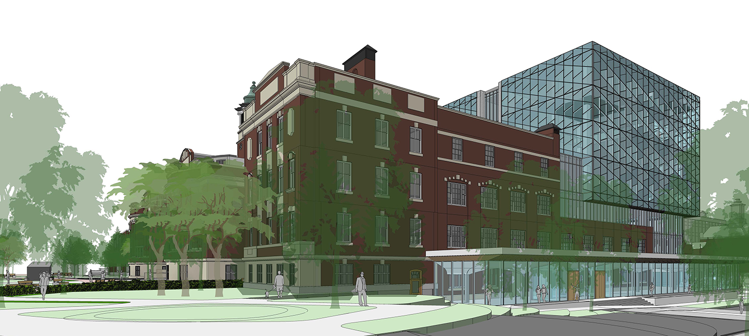 Fourth slide, rendering of new Dentistry Pharmacy Centre building
