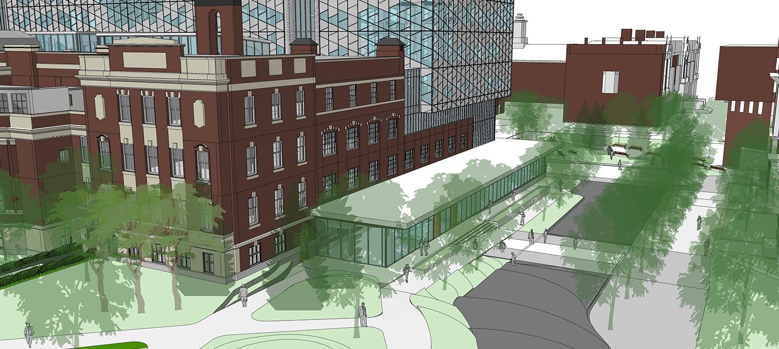 Fifth slide, rendering of new Dentistry Pharmacy Centre building