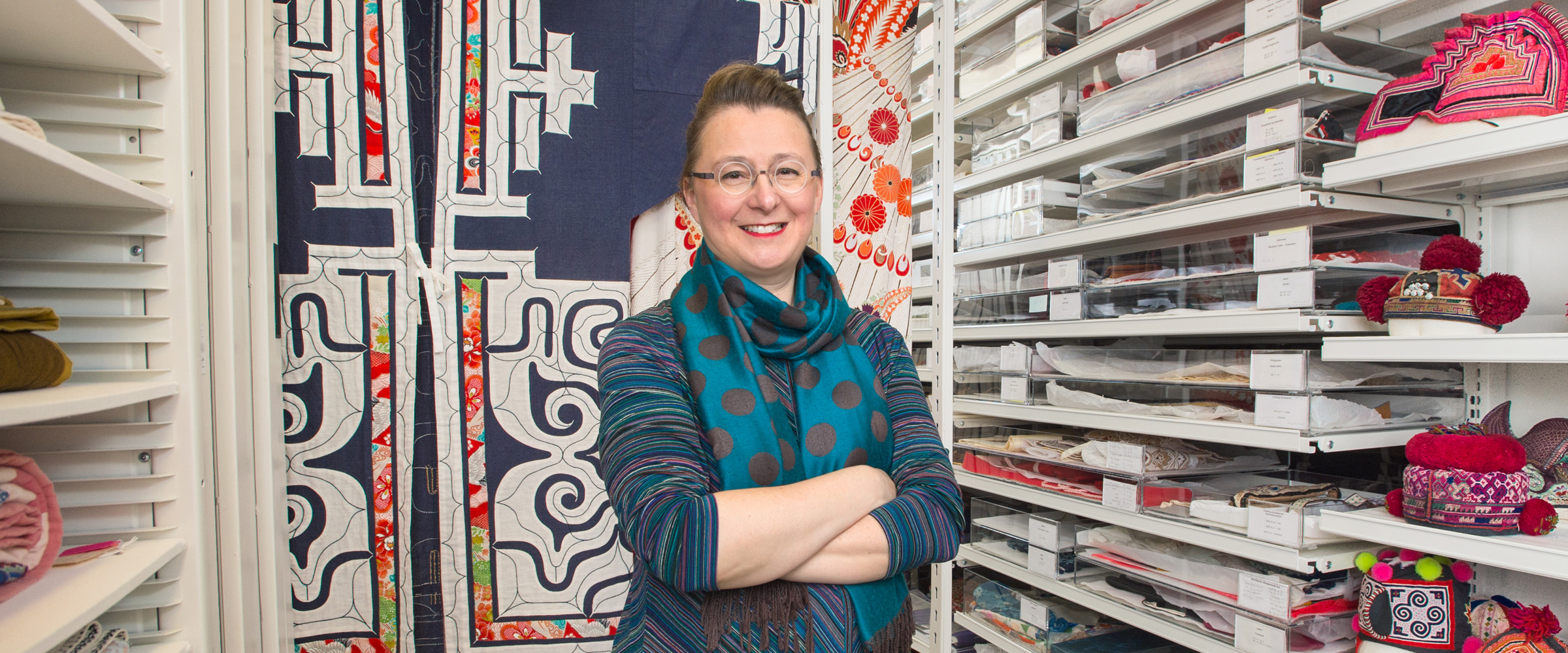 Anne Bissonnette, associate professor and curator of the Anne Lambert Clothing and Textiles Collection