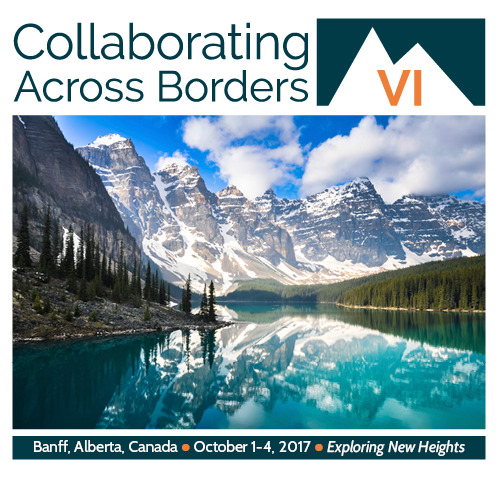 Collaborating Across Borders logo with Banff landscape