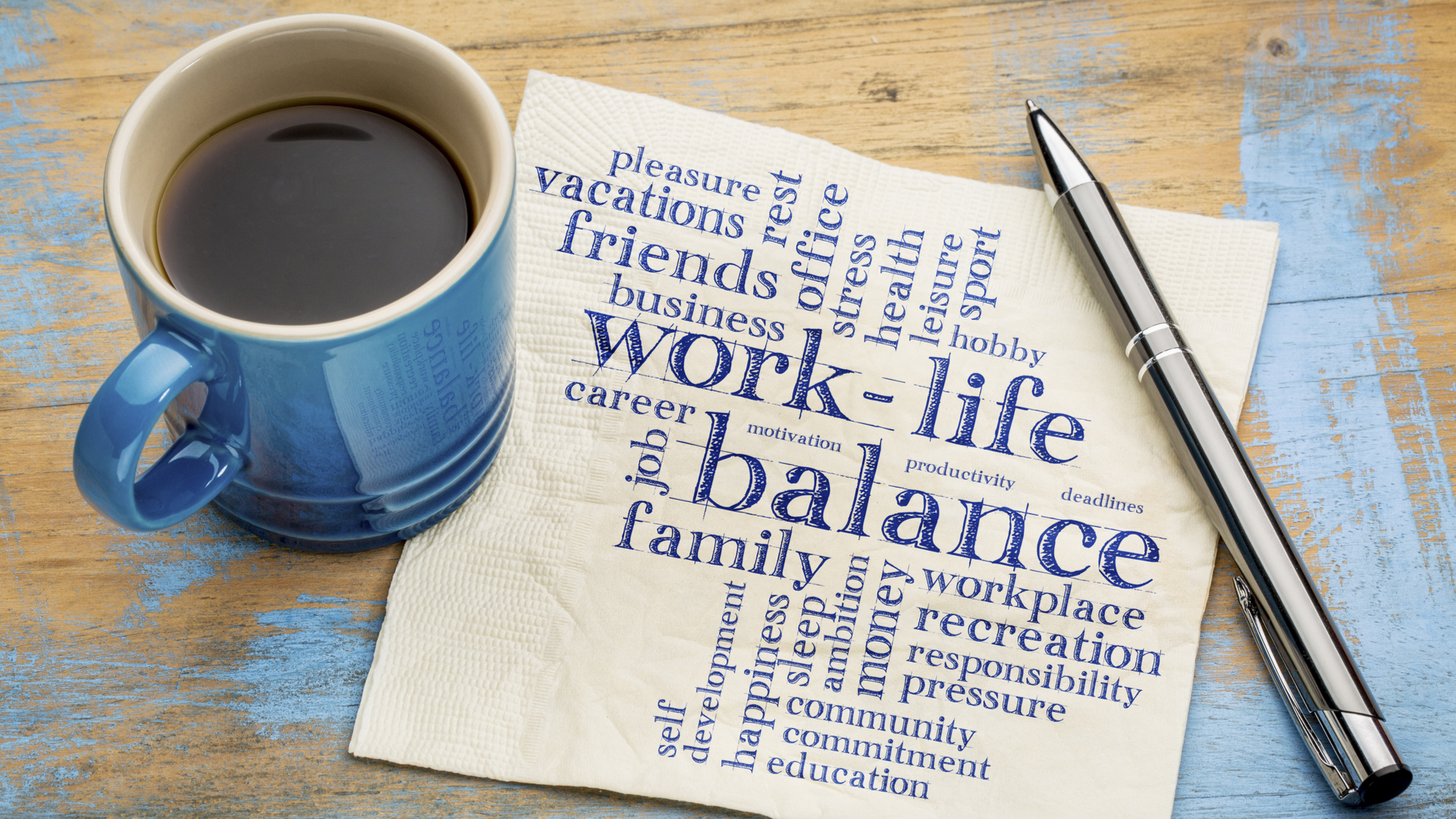 coffee cup and napkin with facets of healthy life listed
