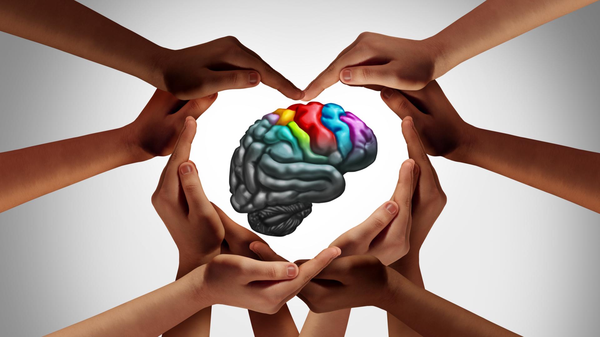 hands in heart shape around brain