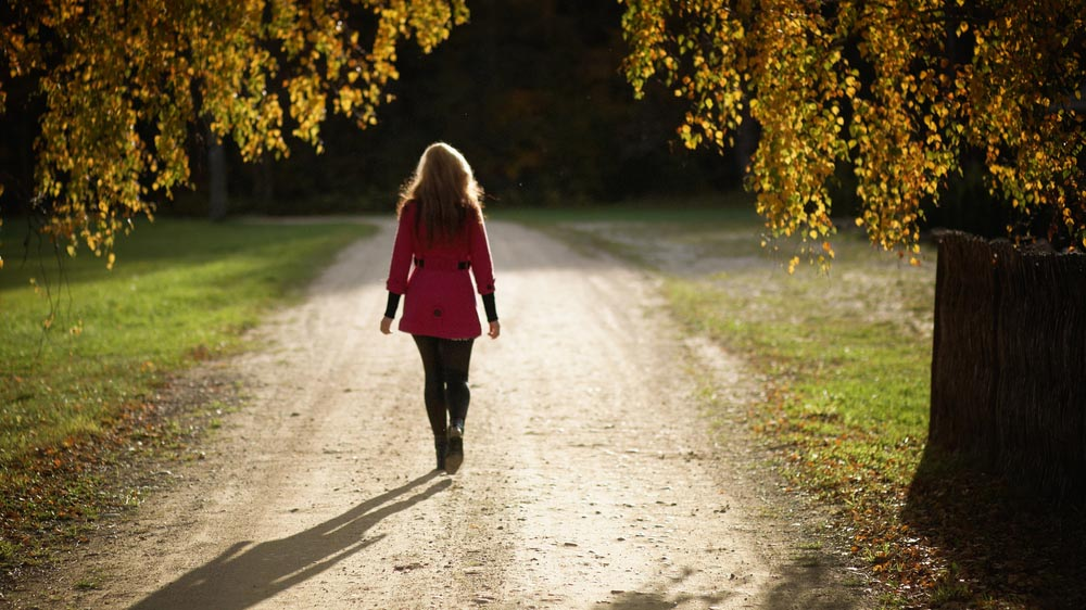 Person walking in a sunlit clearing