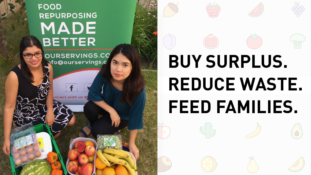 Ria and Mursal with baskets of fruit: Buy Surplus, Reduce Waste, Feed Families