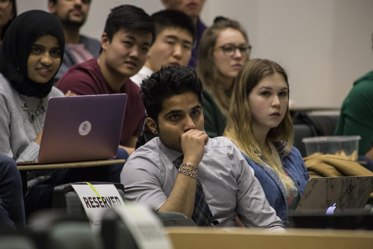 Students watching a presentation