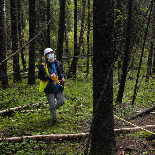 Forestry student Joelle Gagne walks through the forest at the annual field school offered by the Faculty of Agricultural, Life & Environmental Sciences