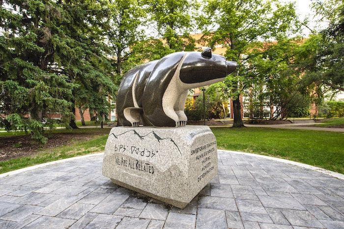 Sweetgrass Bear statue in Quad on the University of Alberta North Campus.