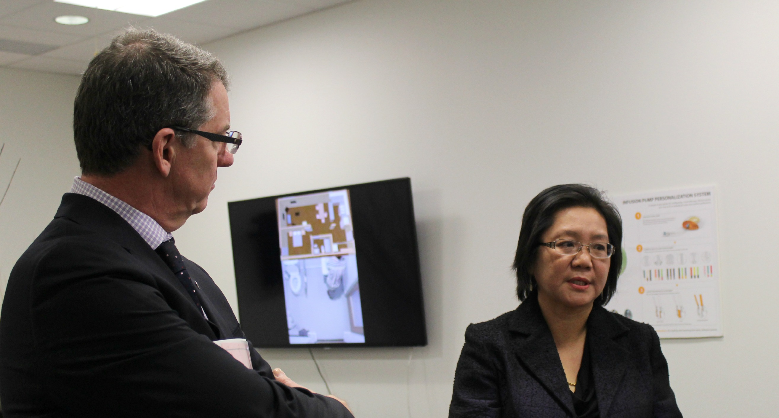 President David Turpin and Dr. Lili Liu, Chair, Occupational Therapy, co-academic lead for the Smart Condo