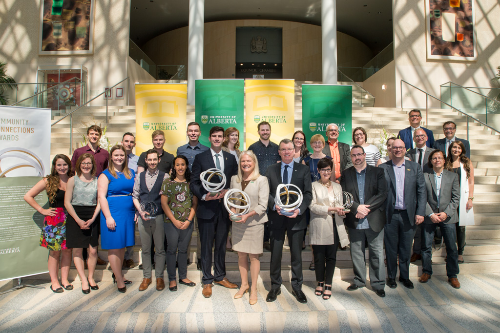 President Turpin with Mayor Don Iveson, VP (University Relations) Debra Pozega Osburn, and the recipients of the 2016 Community Connections Awards