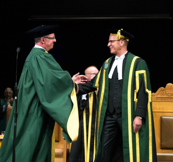 President Turpin welcomes the U of A's 21st Chancellor, Doug Stollery