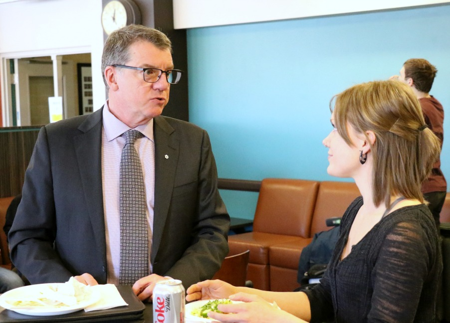 President Turpin speaks with Kyrsti MacDonald, vice-president (academic) with AUFSJ, during a visit to U of A's Campus Saint-Jean