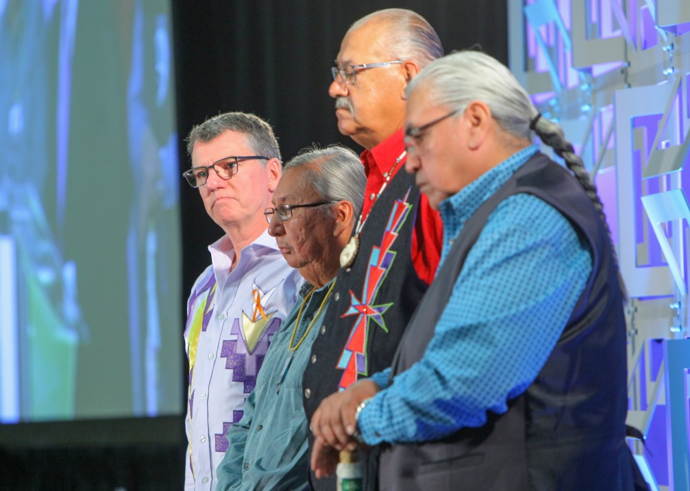 President Turpin, Jerry Saddleback, Eugene Arcand, and Chief Wallace Fox