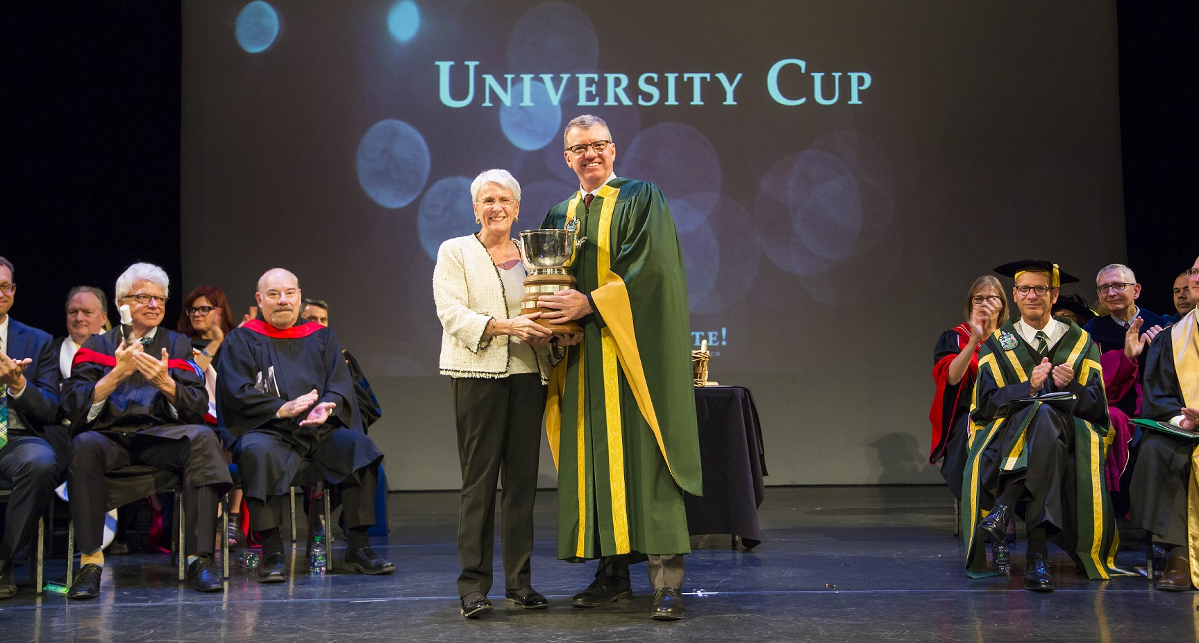 David Turpin with University Cup recipient Janine Brodie at Celebrate! 2017