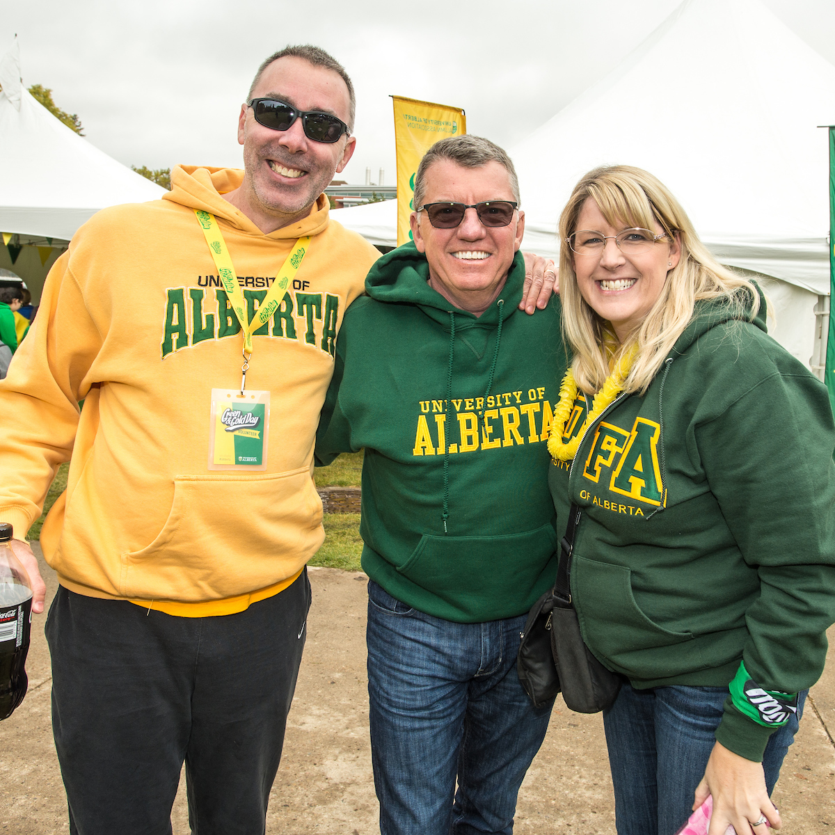 President Turpin takes a photo with staff on Green and Gold Day 2017
