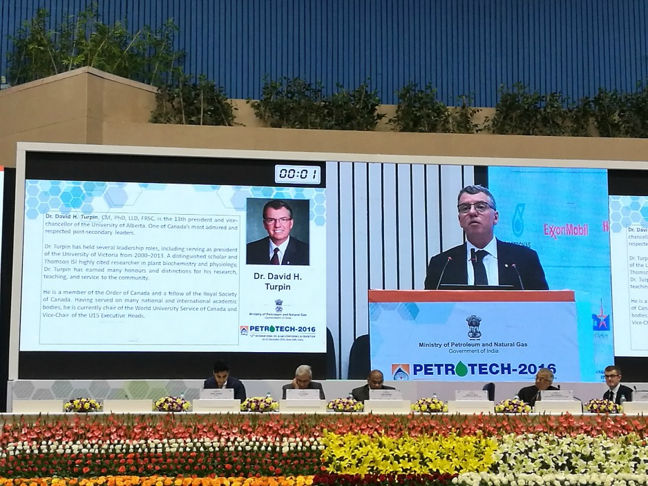 President Turpin speaks at the Petrotech conference in New Delhi, India