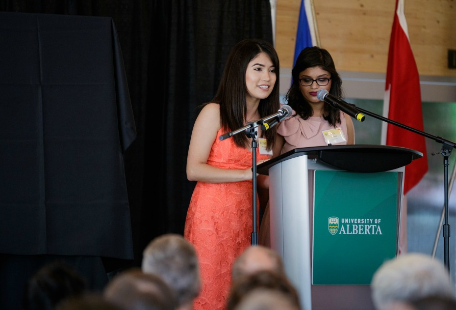 Peter Lougheed Leadership College students speak at opening of Peter Lougheed Hall