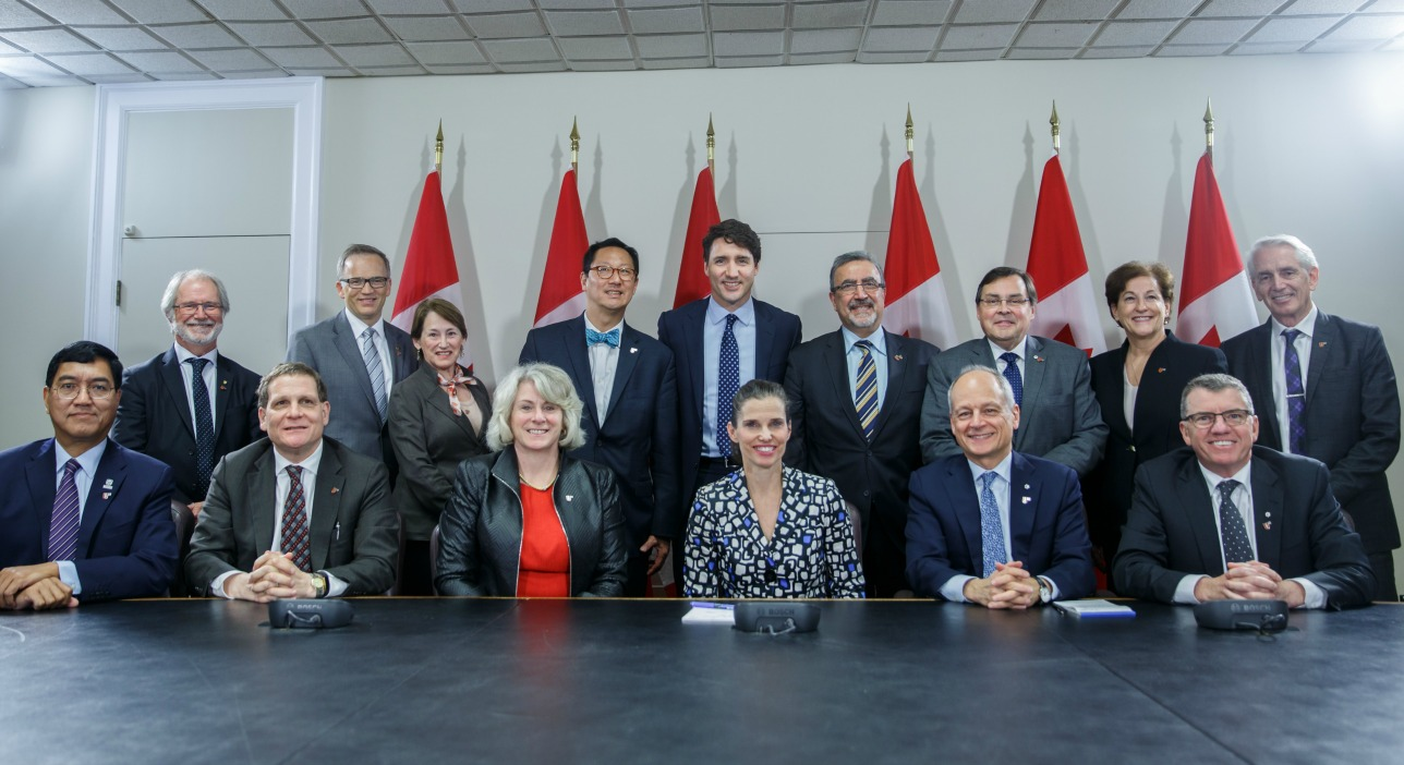 Leaders of the U15 Group of Canadian Research Universities meet with Prime Minister Justin Trudeau and Kirsty Duncan, Minister of Science