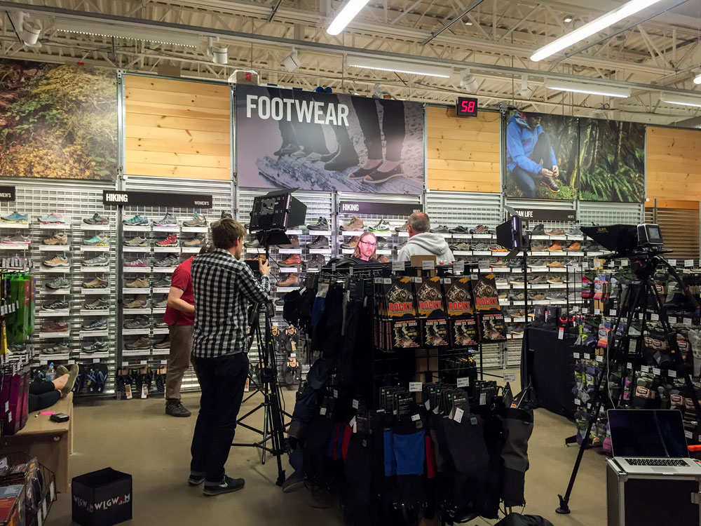 Filming at Mountain Equipment Coop (MEC) about the importance of proper footwear in the mountains