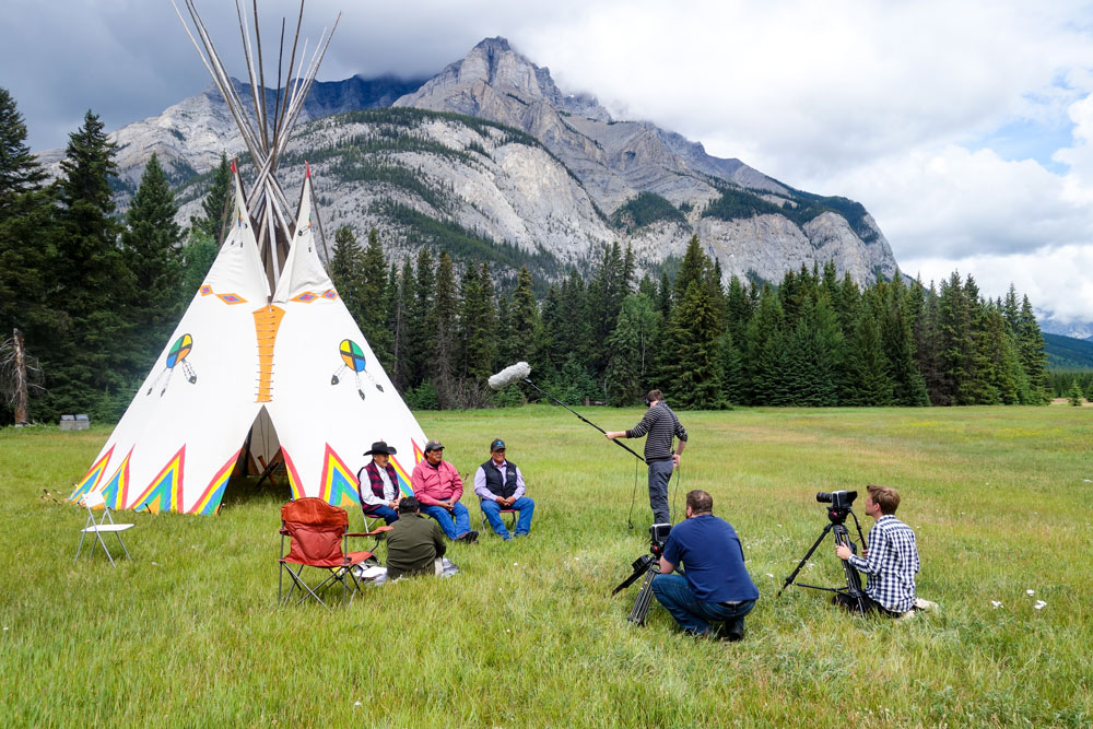 Nakota Elders giving an interview for Mountains 101 in Banff National Park, Alberta, Canada